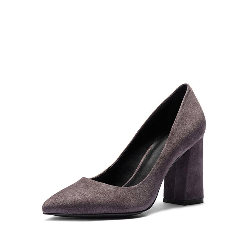 Darco Gianni Mujer Zapatos Medio Alto Tacon Negro Cuero formales Oficina Shoes Bloquear Grueso Cuadrado Tacon Punta Cerrada 40 EU|Gris Gamuza