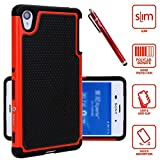 Z4 Case, Sony Z4 Case, Style4U Sony Xperia Z4 Dual Layer Hybrid Armor Protective Case Cover with 1 Style4U Stylus [Red]
