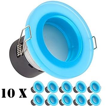 10er Set Design Led Deckenstrahler Blau Ip44 5w 400 Lumen