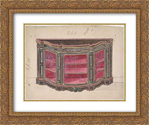 (Anonymous Artist, British, 19th Century - 24x20 Gold Ornate Frame and Double Matted Museum Art Print - Design for a Glass Fronted Cabinet with Red Interior )