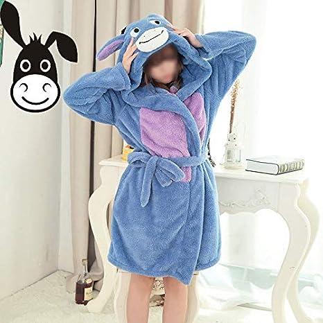 Invierno de las mujeres traje de baño cálido bata larga bata de baño de franela lindo mullido ropa de dormir súper suave pijama novia túnica: Amazon.es: ...