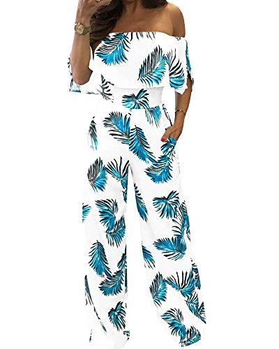 YOMISOY Women Summer Print Feather Romper Ruffle Slash Neck Jumpsuits Outfits (Large, Blue) (Outfits Woman Summer For)