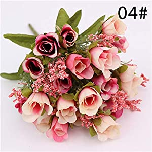 Dark Area Artificial Fake Flowers Silk Tiny Rose Flowers Wedding Bridal Bouquet Home Decoration 5 Branch 19 Head 114