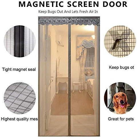 強化された磁気スクリーンドア、セルフシーリングヘビーデューティーハンズフリーバグを防ぎますペットと子供に優しい-90x230cm(35x91inch)