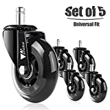 """amzdeal Office Chair Casters Wheels (Set of 5) - 7/16"""" Heavy-Duty Rollerblade PU Caster Wheels Replacement, Safe for Hardwood, 11mm Stem Diameter, Universal Fit"""