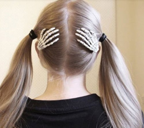 - 1 Pair Trendy Women Skeleton Hand Bone Claw Punk Hair Clip (White) by towallmark