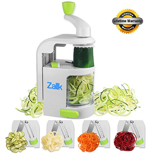 Zalik Spiralizer 4 IN 1 Blade Dial - Small Professional Vegetable Slicer With Powerful Suction Base - Heavy Duty Veggie Pasta Spaghetti Maker For Low Carb/Paleo/Gluten-Free Meals (Mandolin Top Replacement)