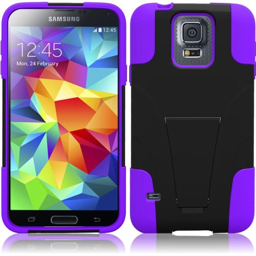 Samsung Galaxy S5 Case + Tempered Glass Screen Protector Combo - (TechAccess) Sweet Purple Utra-Tough Heavy Duty Cover Case Dual Layers Protector Fold-in Stand + Tempered Glass Screen + TA Gift Box