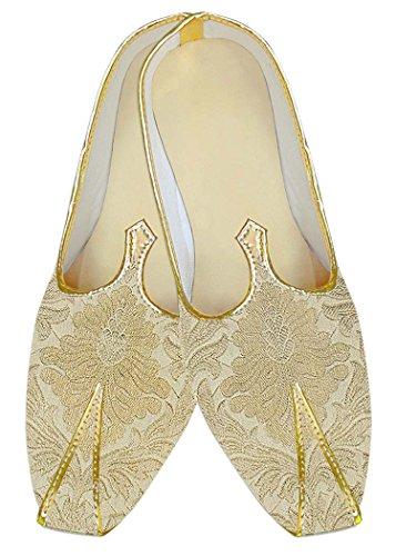 INMONARCH Mens Beige Kheenkhap Wedding Shoes Flower Design MJ12943 Beige Hne3pg0t