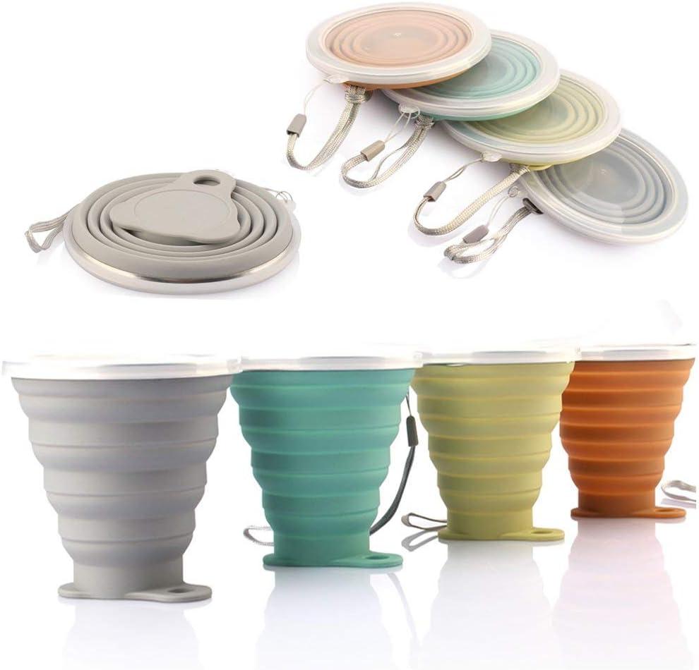 DeHub Copas de Silicona Plegables, Taza de Viaje Plegable de Silicona,FDA y BPA Gratis Capacidad más Grande 270ML Tazas de Beber Plegables
