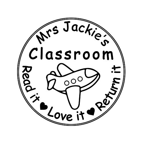 Round Airplane Stamper Aircraft from The Classroom of Read Love Return it Design Monogram Self Inking Return Name Rubber Stamper Teacher Business Address Label Stamp Office Supply