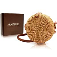 MARIVIS Round Straw Rattan Boho Bag for Women Purse Handmade Clutch Woven Handbag