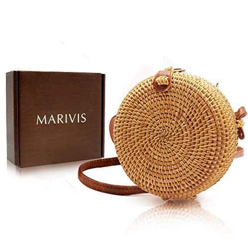 MARIVIS Round Straw Rattan Boho Bag for Women Purse Handmade Clutch Woven - Handbag Woven Clutch