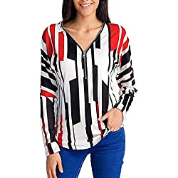 FEITONG Women's Casual Striped Printed V-Neck Zipper Long Sleeved Detail Top Blouse(Medium,Red)