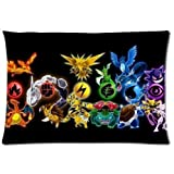 Display All Anime Pokemon Monster Cute Zippered Pillowcase Pillow Cover 20x30 inches Birthday Gift For Kids Lover