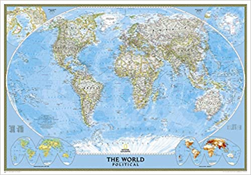National Geographic Paper Rolled 28 x 22 inches Asia Political Wall Map