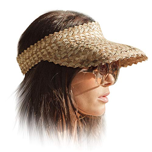 (Stylish Sun Visor Hat for Women - Straw Summer Beach Sun Visor Hats with UV Protection, Large Wide Brim for Outdoor Camping Hiking Travel | Perfect for Pony Tail or Bun)