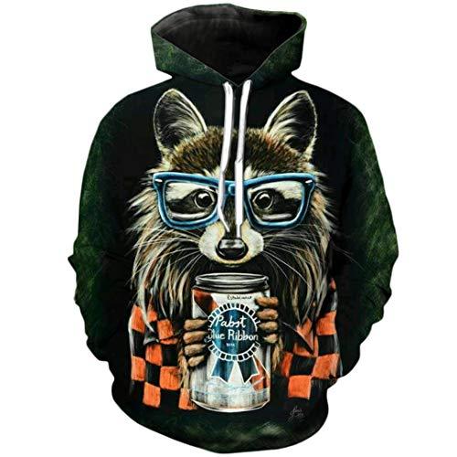 (3D Print Animal Cute Raccoon Glasses Hood Sweatshirts Unisex Hoodies Harajuku Raccoon Hoodies M)