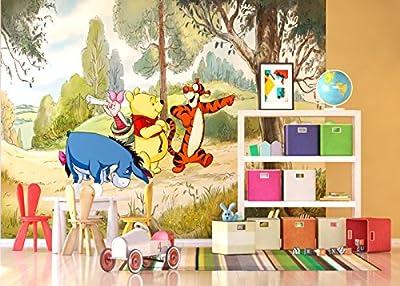 AG Design Disney Winnie The Pooh 4 Part Photo Mural Wallpaper for Children's Room, Multi-Colour, 360 x 255 cm by Disney