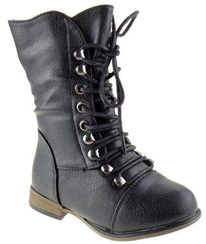 Legend-15KA Baby Girls Combat Lace Up Boots Black 8 Toddler