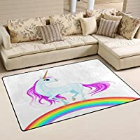 LORVIES Blue Unicorn On Rainbow Area Rug Carpet Non-Slip Floor Mat Doormats for Living Room Bedroom 31 x 20 inches