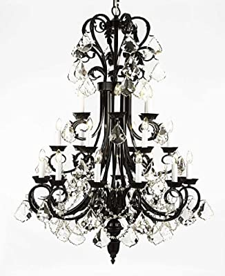 """Large Foyer / Entryway Wrought Iron Chandelier 50"""" Inches Tall With Crystal! H50"""" x W30"""""""
