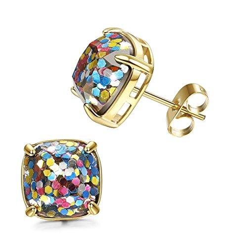 LOYALLOOK Womens Stainless Steel Gold Post Stud Earrings Multi-Color Square Stone Ear Piercing Earrings Golden -