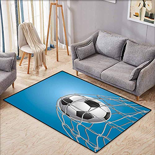 Rectangular Rug,Soccer,Goal Football in Net Entertainment Playing for Winning Active Lifestyle,Super Absorbs Mud,4'7