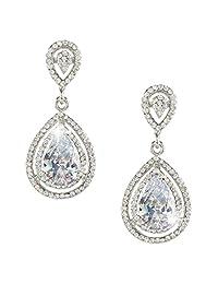 Ever Faith Wedding Teardrop Classic Earrings Clear CZ Crystal Silver-Tone N03890-1