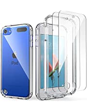 iPod Touch 7th Generation Case, IDweel Armor Shockproof Case with 2 Screen Protector Heavy Duty Full Protection Shock Resistant Hybrid Rugged Cover for Apple iPod Touch 5/6/7th Generation, Clear