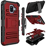 Samsung Galaxy A6 Case, Zenic Heavy Duty Shockproof Full-Body Protective Hybrid Case Cover Swivel Belt Clip Kickstand Samsung Galaxy A6 2018 (Red)