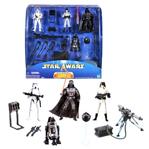 Hasbro Year 2002 Star Wars Saga Series 4 Pack 4 Inch Tall Action Figure Set - IMPERIAL FORCES with Stormtrooper, Darth Vader, AT-ST Driver, R4-19 Droid, Blaster Rack, 2 Heavy Blaster Rifles, 2 Stormtrooper Blasters, Mouse Droid, Imperial Interrogator Droid (Imperial Blaster Rifle)