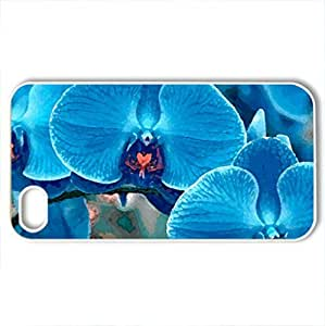 PHALAENOPSIS BLUE ORCHID - Case Cover for iPhone 4 and 4s (Flowers Series, Watercolor style, White)