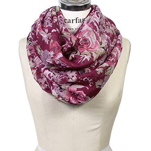 Scarfand's Romantic Rose Print Lightweight Infinity Scarf (Bouquet Rose Red-Tawny Port) (Floral Scarf Soft)