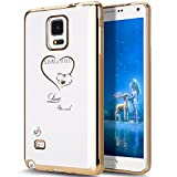 Galaxy Note 4 Case,ikasus Mini Love Heart Glitter Bling Crystal Rhinestone Diamonds Clear Rubber Golden Electroplate Plating Frame TPU Soft Silicone Bumper Case Cover for Samsung Galaxy Note 4