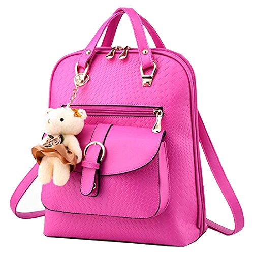 Partiss - Bolso mochila  para mujer Rosa Roja
