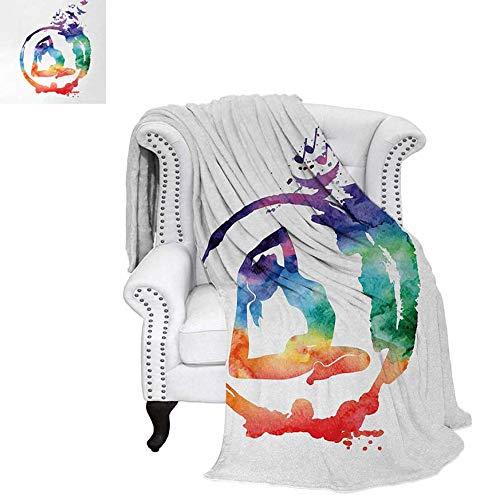 Weave Pattern Blanket Rainbow Watercolors Zen Symbol Yoga Pose Free Birds and Music Inspiration Spiritual Custom Design Cozy Flannel Blanket 62