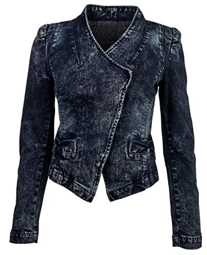 - Women's Juniors Long Sleeve Denim Blazer Fitted Jacket in Washed Blue Size L