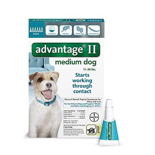 Bayer Advantage II Flea and Lice Treatment for Medium Dogs, 11 - 20 lb, 6 doses (Bayer Animal)