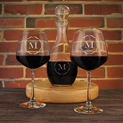 Personalized Wine Decanter with Stopper Custom Designed & Gift Option with Two Red or White Engraved Diamond Wine Glass Stemware Optional (Stopper Glass Wine Monogram)