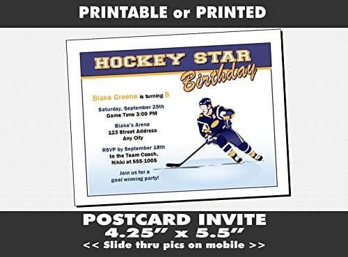 Amazon Com Hockey Birthday Party Invitation Printable Or Printed