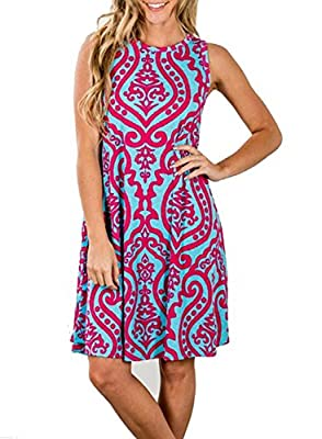 ZESICA Women's Summer Sleeveless Damask Print Pocket Loose T-Shirt Dress