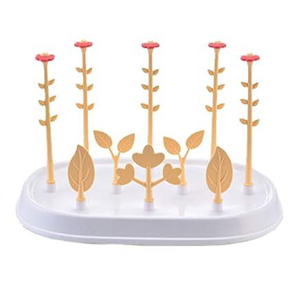 Uzinb Botellas Multifuncional Flor desprendible árbol feding Tendedero Infantil Taza de Leche de Chupete Titular Escurridor