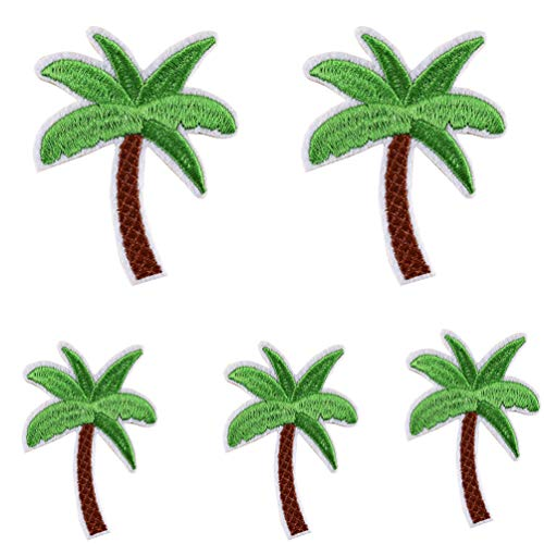 Floralby 5Pcs Embroidery Coconut Palm Tree Sew Iron On Patch Badge DIY Jacket Jeans Bag Applique Crafts