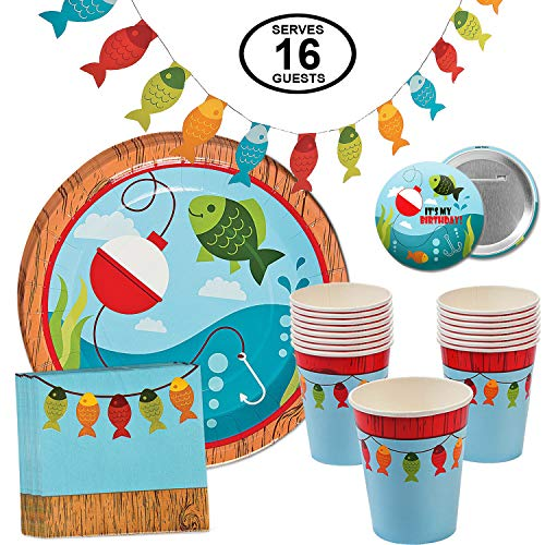 Fisherman Fishing Party Supplies Little Fisherman Table Party Pack for 16 Includes Dinner Plates, Cups, Napkins and Banner -