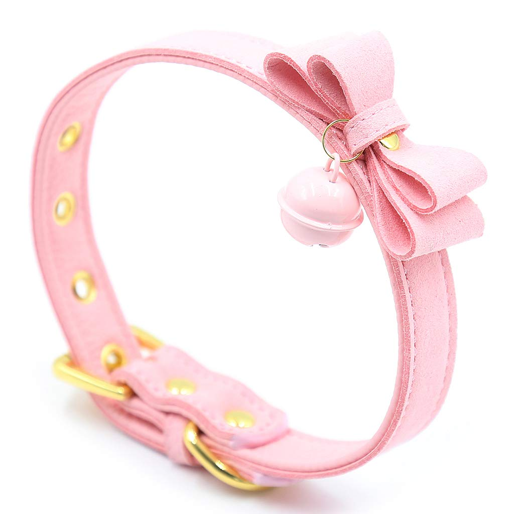 kesoto PU Leather Bow Collar Necklace Choker Bell Cat Cosplay Necklace