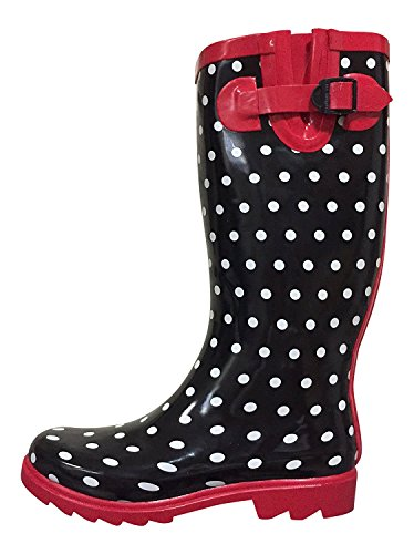 AimTrend Womens Waterproof Welly Rain Boots (8 B(M) US, Black/red Dots) (Red Women Boots)