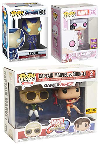 (GirlPop! Power Girls Figure Pack Rescue Pepper Potts Armored Bundled with Gwenpool Selfie Exclusive Bobble Head & Hot Topic Capcom Captain Marvel VS Chun Li 2 Pack 3 Items)