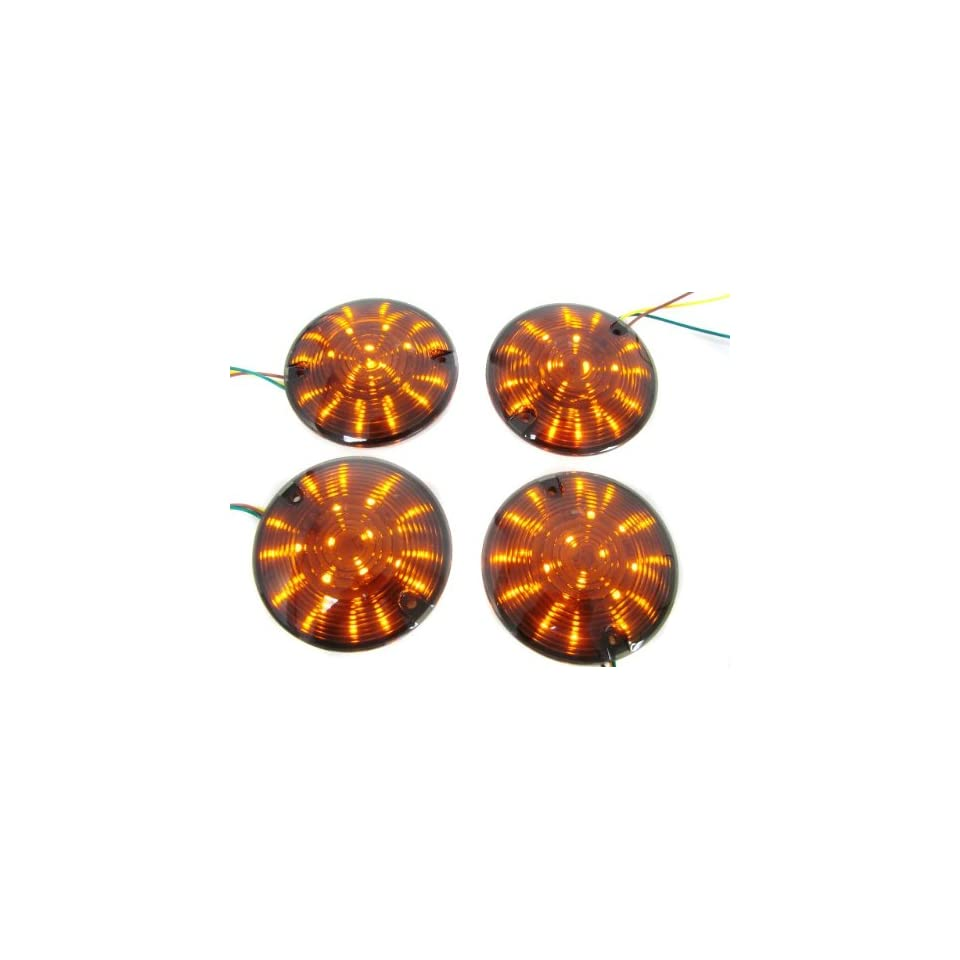 TMS LED Harley Softail Road King Electra Glide Ultra Touring Smoke Turn Signal Lens Amber