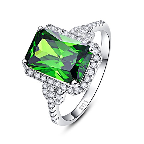 Merthus Womens 925 Sterling Silver Created Emerald Halo Engagement Ring - Lab Created Emerald Ring